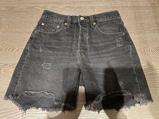 Live's 501 黑色刷舊短褲 26