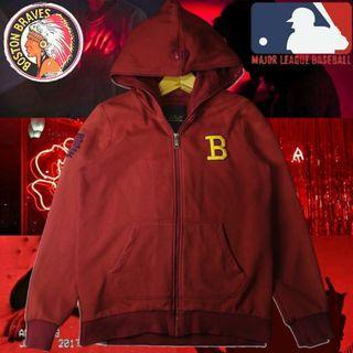 MLB BOSTON BRAVES RED BURGUNDY ZIP HOODIE BASEBALL JACKET ORIGINAL  AUTHENTIC RARE