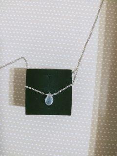 項鏈-祖母綠了-moonstone 月光石純銀水滴裸感項鏈