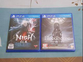 PS4硬核受死動作遊戲2片合售(仁王+血源詛咒遠古獵人)