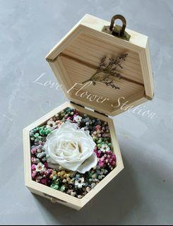 Small Wooden Box With Preserved Rose & Dried Rainbow Baby Breath/Graduation Flower/Birthday Gift Idea/Preserved White Rose/ Mother's Day Flower