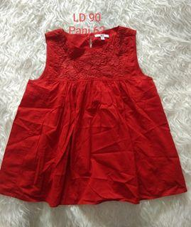 UNIQLO RED SLEEVELESS BABYDOLL TOP M