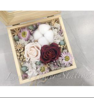 Wooden Box With Preserved Rose & Cotton Flower/ Dried Flower