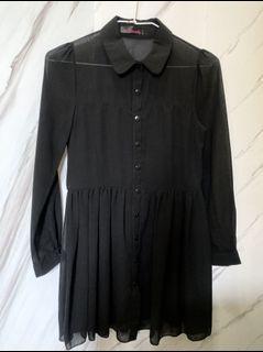 黑色透膚連身洋裝