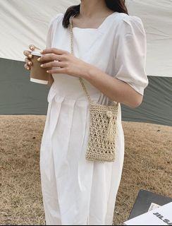 ✦簡約純色波希米亞風流蘇裝飾手工編織包✦