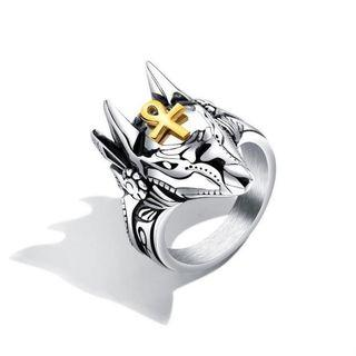 復古霸氣男士戒指創意阿努比斯埃及十字架戒子鈦鋼男朋克扳指環