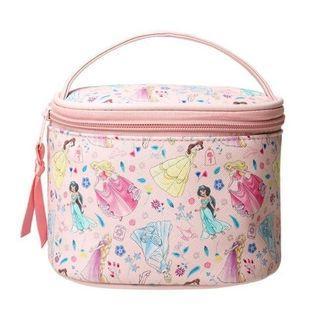 【全新】迪士尼 粉紅公主 大容量圓桶化妝收納可愛夢幻 手提包