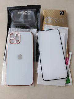 全新 iPhone 12 ProMax玫瑰金邊防摔殼+9D滿版亮面抗指紋玻璃貼×2 共3件