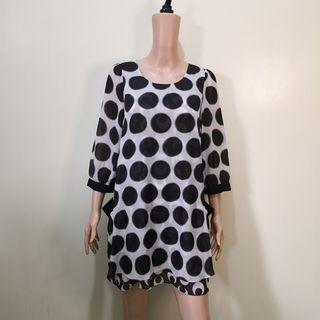 C1101 - Moma Black and White Polkadot Sheer Dress/Coverup