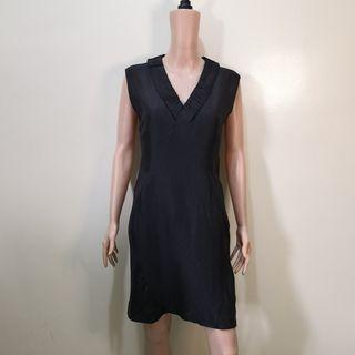 C1232 - Beauvillon Paris Black Dress with Pleated Neckline
