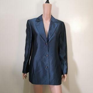C690 - Dana Buchman Blue Green Long Vintage-style Silk Blazer Jacket