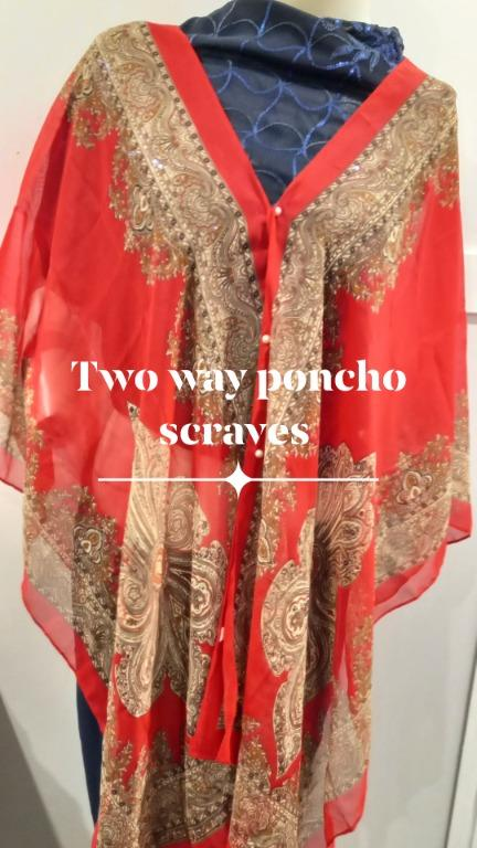 Chiffon pincho scarf 2 way use. 3 colors left