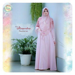 [PRELOVED] Gamis casual syari cantik kancing depan New Alexandra Dress by  Fenuza Muslim Wear
