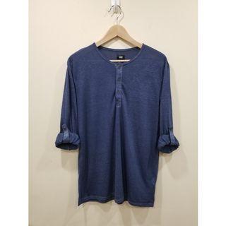 H&M | Blue Long Sleeve Henley | Medium