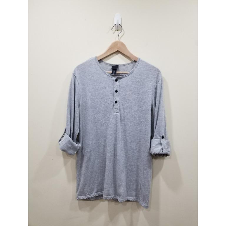 H&M   Grey Long Sleeve Henley   Medium