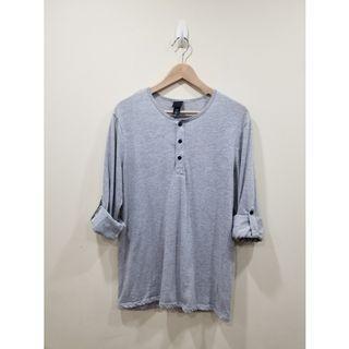 H&M | Grey Long Sleeve Henley | Medium
