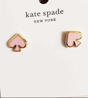 Kate spade 不議價  粉色 桃心 粉桃 耳環黑桃