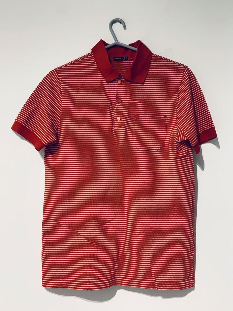 Prada Red Stripe plastic logo Polo Shirt S dior saint lauren