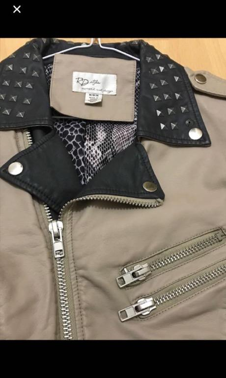 Vegan leather two tone studded jacket