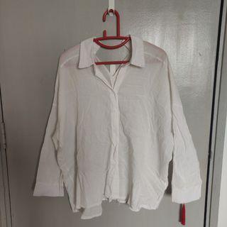 White sheer open collar button up shirt