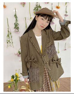 蝴蝶結拼接材質墨綠色復古西裝外套