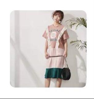 韓國拼接洋裝