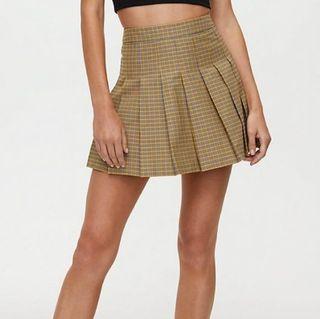Aritzia Yellow Plaid Tennis Skirt