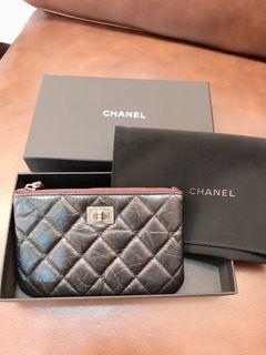 Chanel黑色牛皮抓皺2.55銀扣拉鍊零錢包