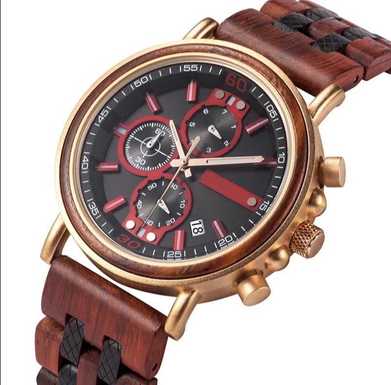 Custom made ebony wooden watch
