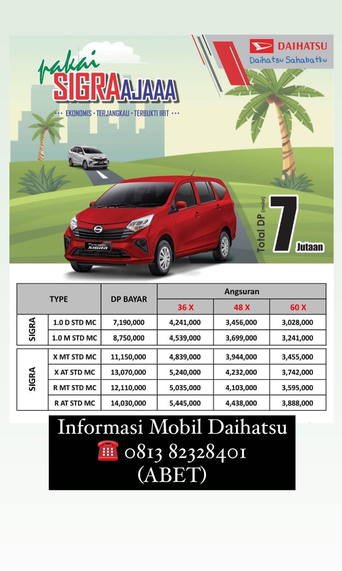 DP MURAH Daihatsu Sigra mulai 7 jutaan. Daihatsu Fatmawati