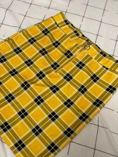 H&M Yellow Plaid Skirt