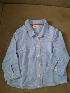 Kemeja Baby biru muda 100 persen katun
