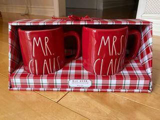 Last one: Rae Dunn Mr & Mrs Claus red mug set (New)
