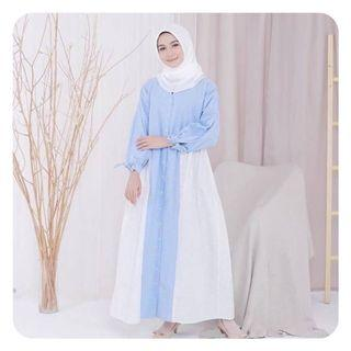 [PRELOVED] Gamis casual syari cantik two tone Clouds Oversize Longdress by Maissa