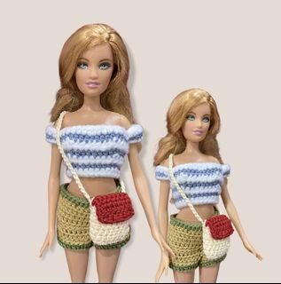 Tas Barbie Selempang Rajut Merah Krem