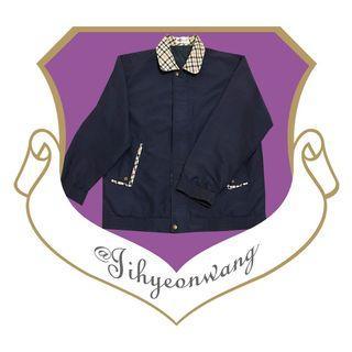 Y@morey 古著 格領外套 學院風 長袖上衣 深藍 格領 格子 檔片 哈靈頓外套 夾克 @下課來玩吧