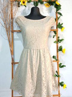 ZARA Light gold Lace Dress