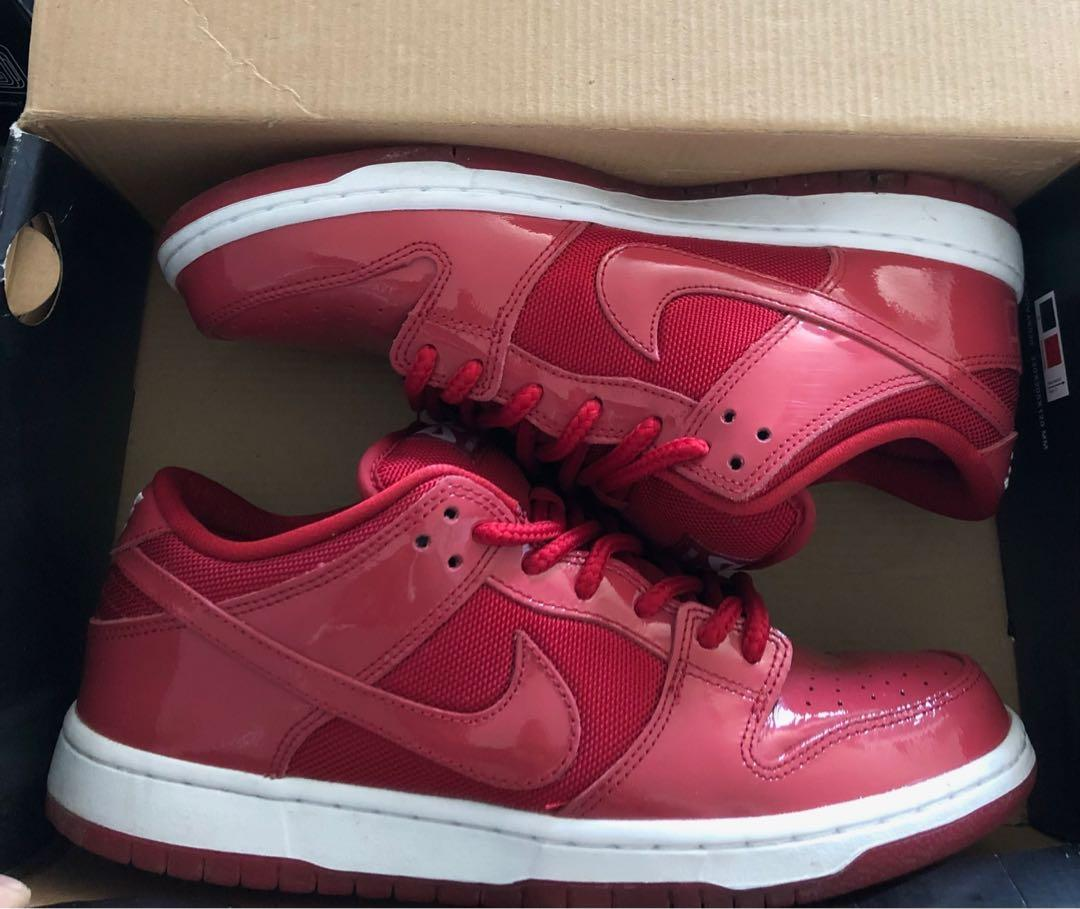 9.5 Nike Dunk SB Low Red Patent Leather