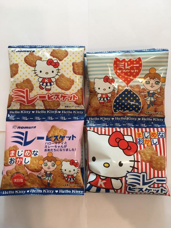 日本野村煎豆 4連Kitty造型餅乾 美樂圓餅 120公克