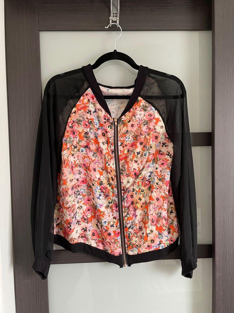 Floral zip up top
