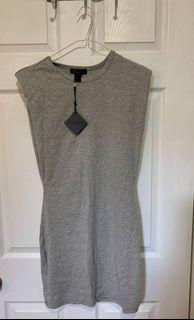 Grey Padded Shoulder MIDI Dress