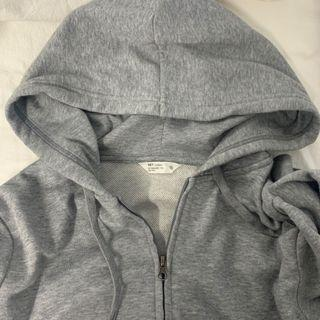 NET灰色素面毛圈連帽外套#618