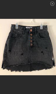 ONE X ONETEASPOON Distressed Black Mini Skirt