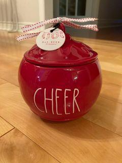 Rae Dunn Cheer red ornament canister (new)