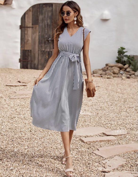 Striped Belted Midi Dress