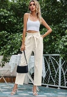 2 paperbag/cigarette waist belted pants premium collection