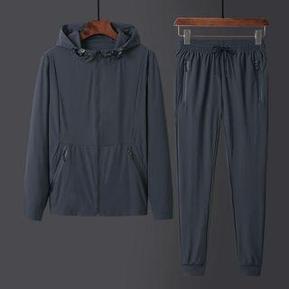 夏季防曬服套裝冰絲純色男士防曬衣速干休閑連帽透氣外套夾克1908637