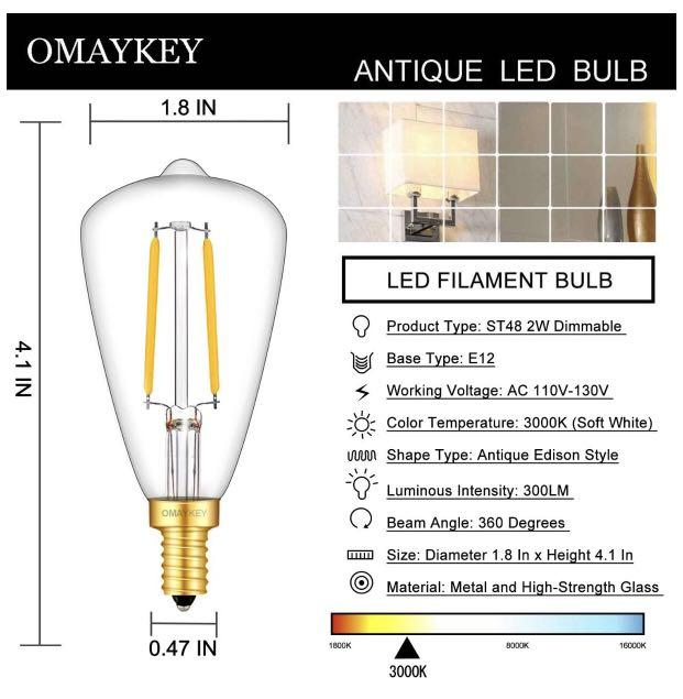 2W Dimmable Candelabra LED Edison Bulb
