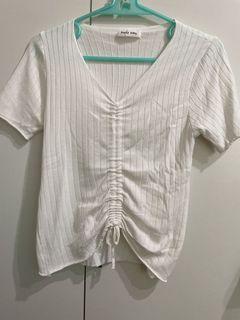 抽繩短袖上衣-白色