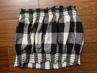 格子一字領 鬆緊上衣 性感平口上衣 短版平口上衣